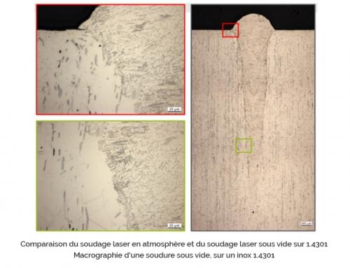 Soudure laser sous vide des Aciers inoxydables et alliages à base de nickel